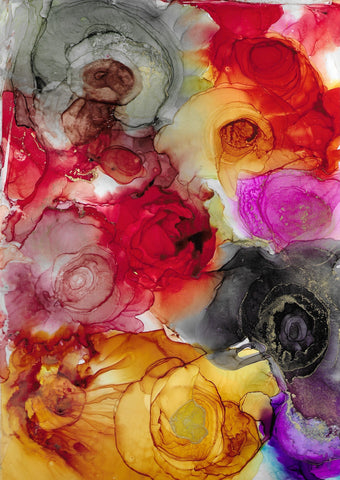 colourful roses abstract painting by artist Nik Torres Designs. 9 x 12 inches