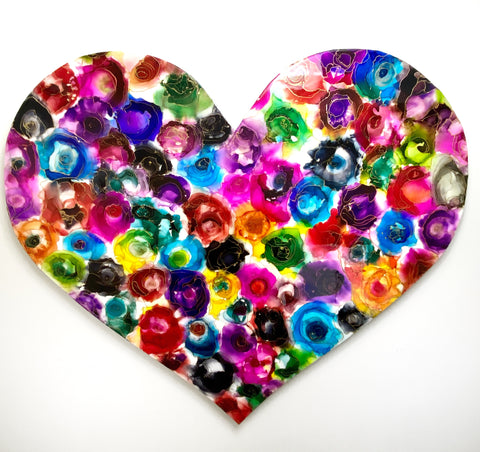 """colourful heart shaped abstract painting on alcohol ink and resin by artist Nik Torres Designs. 37"""" diameter approx."""
