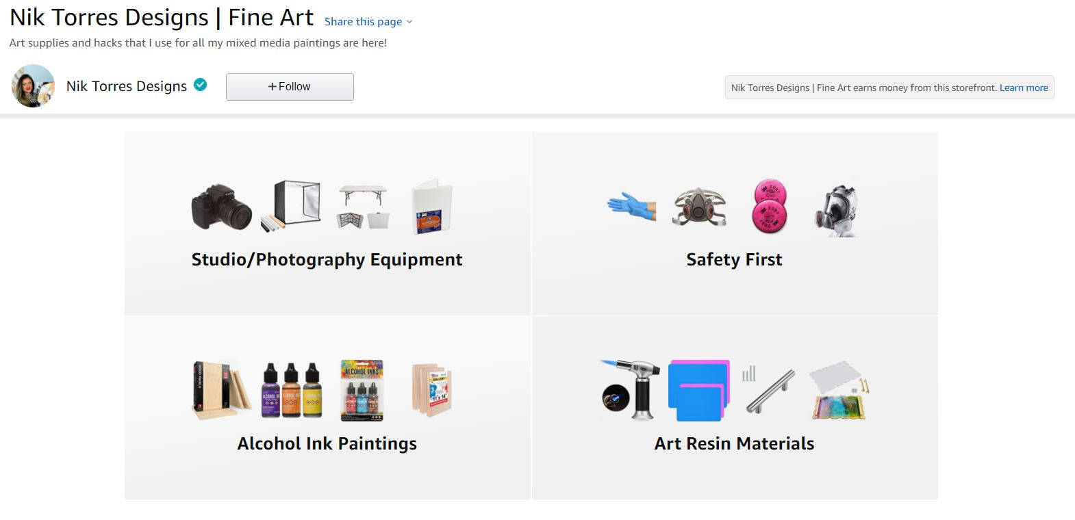 Nik Torres Designs Amazon Store, for Art supplies, alcohol ink and resin art. Studio and photography equipment