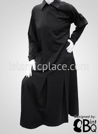 Black Chic Collar Abaya with Pleating - BQS6