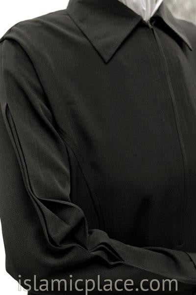 Close up Black Chic Collar Abaya with Pleating - BQS6