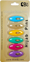 Soft Pastel Multi-colored - Classic Khimar-Hijab Pin Pack with Oval (Pack of 6 Pins)