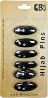Black - Waves Khimar Hijab Pin Pack with Rhinestones (Pack of 6 Pins)