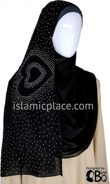 "Silver Heart in Heart Long Rectangle Shayla Hijab with Stones 32""x72"""