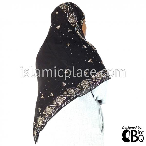 "Gold and Silver Swirls and Triangles Long Rectangle Shayla Hijab with Stones 32""x72"""