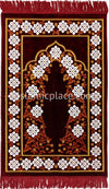Burgundy, Rust and White Prayer Rug with Floral Gateway Mihrab