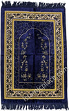 Navy Blue and Gold Prayer Rug With Garden Mihrab (Big & Tall size)