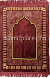 Dusty Rose, Gold and Black Simple Mihrab Prayer Rug (Big & Tall size)