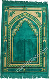 Turquoise and Tan Prayer Rug With Aztec Mihrab (Big & Tall size)