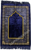 Navy Blue and Tan Simple Mihrab Prayer Rug (Big & Tall size)