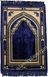 Navy Blue and Tan Prayer Rug With Aztec Mihrab (Big & Tall size)