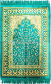 Turquoise, Tan and Gold Prayer Rug With Petal Mihrab (Big & Tall size)