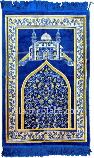 blue prayer rug with masjid an-nabawi - prophet's mosque in madina