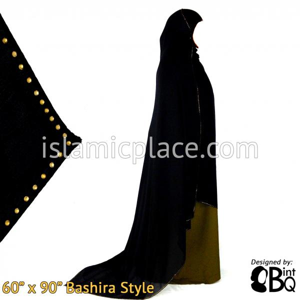"Gold Stones Shayla Bashira Style Long Rectangle Hijab 60""x90"""