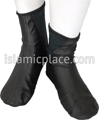 Black - Elastic Slip-on Khuff Leather socks