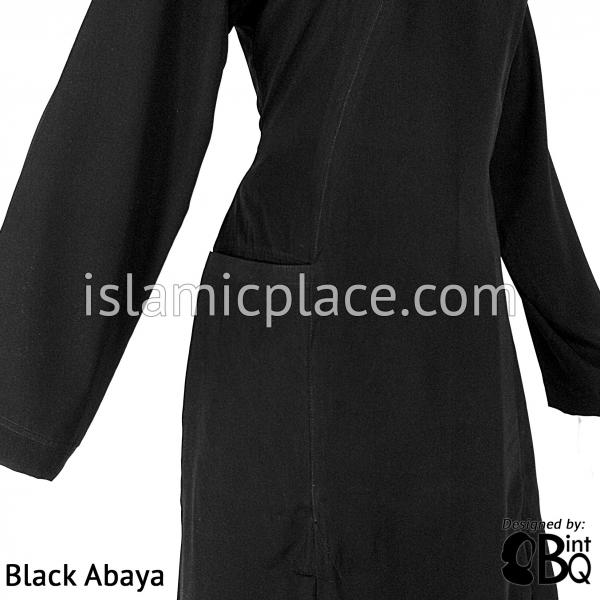 Farah Urban Black Abaya with large front pockets and front and back pleats - BQ180