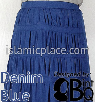 Denim Blue - Ruqayyah Ruched Skirt by BintQ - BQ119