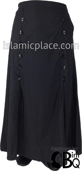 Black - Bushra Buttons with Mini Pleat Skirt by BintQ - BQ150