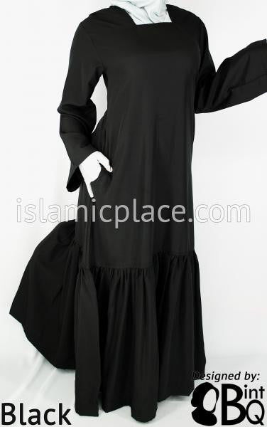 Black - Aisha Mini Pleats Swing Abaya by BintQ - BQ66