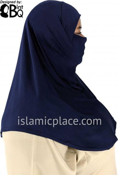 Navy Blue - Plain Teen to Adult (Large) Hijab Al-Amira with Built-in Niqab