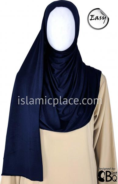"Navy Blue Plain - Easy Aisha Jersey Shayla Long Rectangle Hijab 30""x70"""