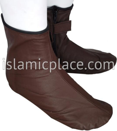 Chocolate Brown - Zip-up Khuff Leather socks