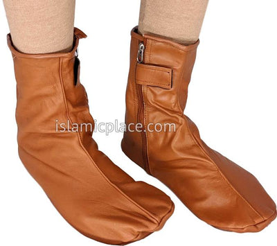 Camel - Zip-up Khuff Leather socks