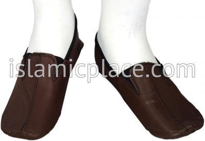 Chocolate Brown - Ankle Low-cut Khuff Leather socks