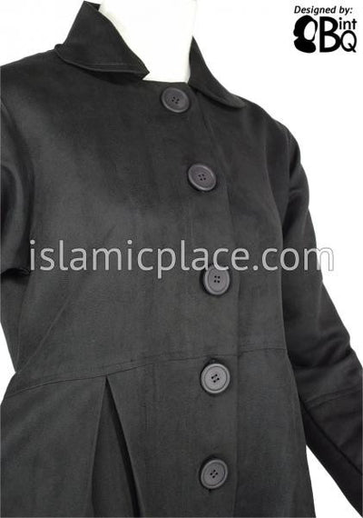 Black - Pleated Coat with Round Collar in Suede Fabric by BintQ - BQ141