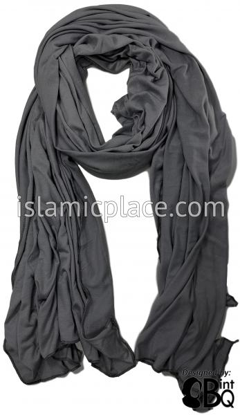"Charcoal Gray Plain - Jamila Jersey Shayla Long Rectangle Hijab 30""x70"""