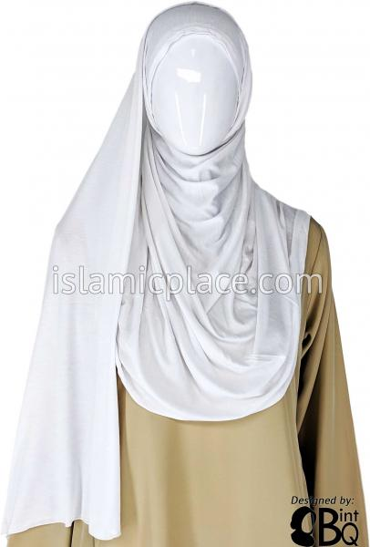 "White Plain - Jamila Jersey Shayla Long Rectangle Hijab 30""x70"""