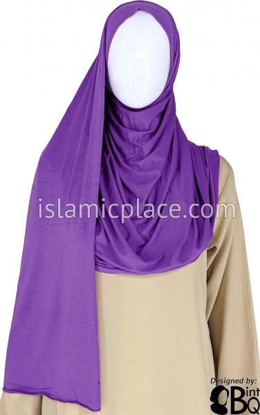 "Purple Plain - Jamila Jersey Shayla Long Rectangle Hijab 30""x70"""