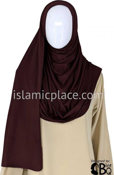 "Auburn Brown Plain - Jamila Jersey Shayla Long Rectangle Hijab 30""x70"""