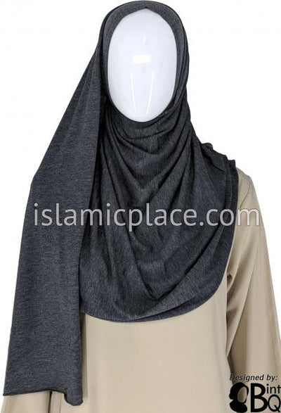 "Heather Gray Plain - Jamila Jersey Shayla Long Rectangle Hijab 30""x70"""