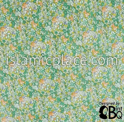 "Light Green, white and light Orange Field of Flowers - 45"" Square Printed Khimar"