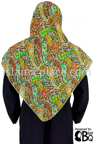 "Green, Yellow, Rust and Teal Paisley - 45"" Square Printed Khimar"
