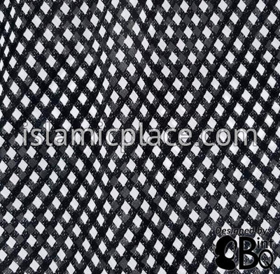 "White Diamonds on Black - 45"" Square Printed Khimar"