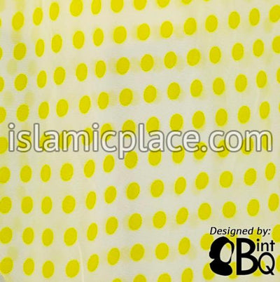 "Yellow Polka Dots - 45"" Square Printed Khimar"