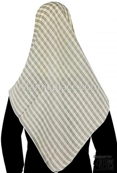 "Beige with Egg Shell Stripes - 45"" Square Printed Khimar"