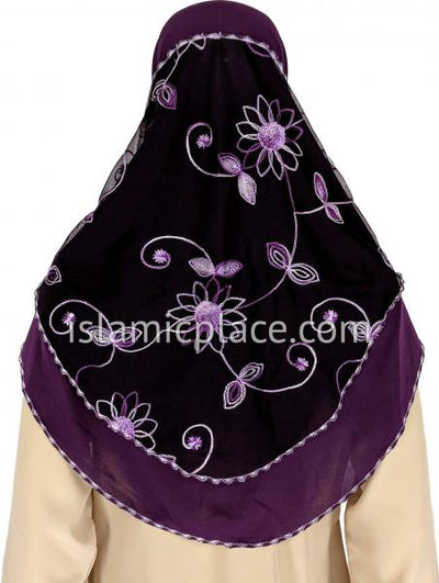 Purple, Eggplant and Lavender - Floral Sketch Hijab Al-Amira Teen to Adult (Large) - Design 9