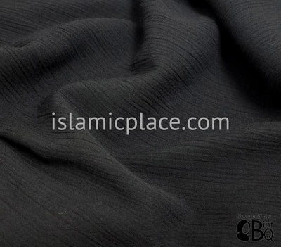 Black - Aisha Mini Pleats Swing Abaya in Crinkled Fabric by BintQ - BQ66