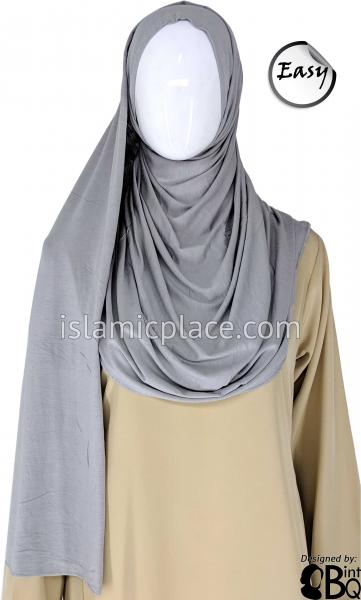 "Silver  Plain - Easy Aisha Jersey Shayla Long Rectangle Hijab 30""x70"""