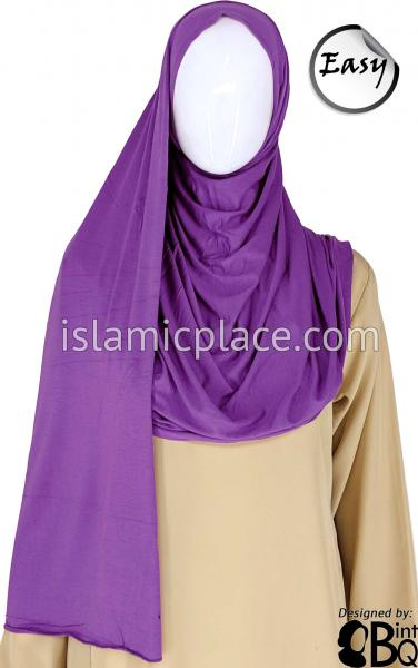 "Purple Plain - Easy Aisha Jersey Shayla Long Rectangle Hijab 30""x70"""