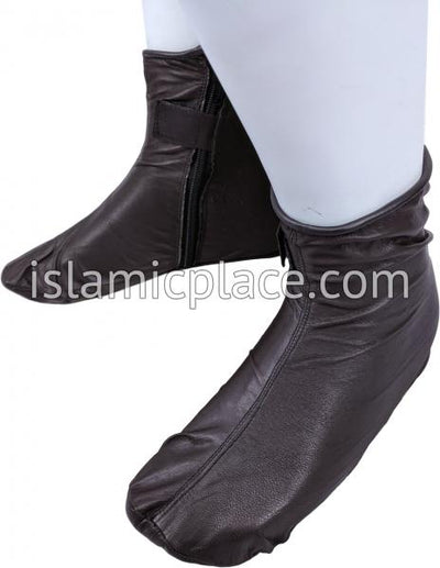 Dark Brown - Zip-up Khuff Leather socks