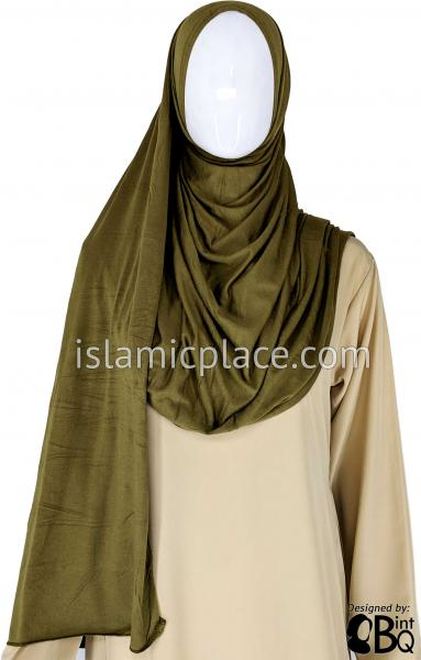 "Camouflage Green Plain - Jamila Jersey Shayla Long Rectangle Hijab 30""x70"""