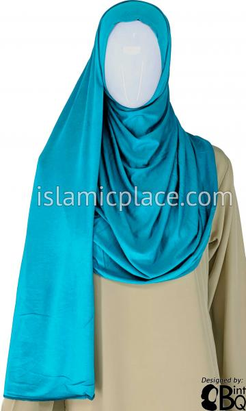 "Aqua Plain - Jamila Jersey Shayla Long Rectangle Hijab 30""x70"""
