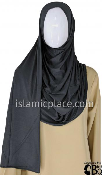 "Graphite Plain - Jamila Jersey Shayla Long Rectangle Hijab 30""x70"""