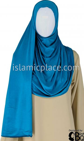 "Light Teal Plain - Jamila Jersey Shayla Long Rectangle Hijab 30""x70"""