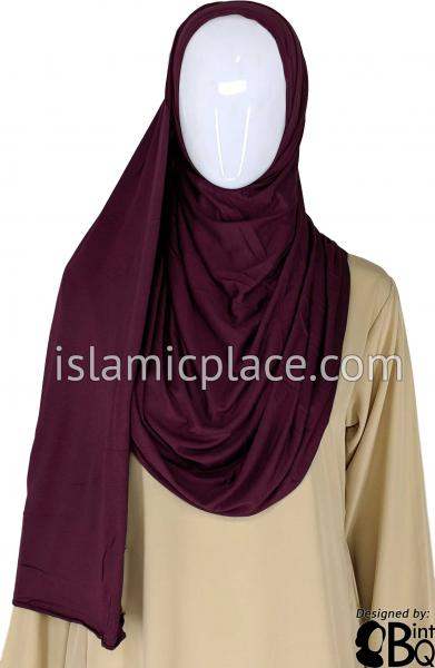 "Eggplant Plain - Jamila Jersey Shayla Long Rectangle Hijab 30""x70"""