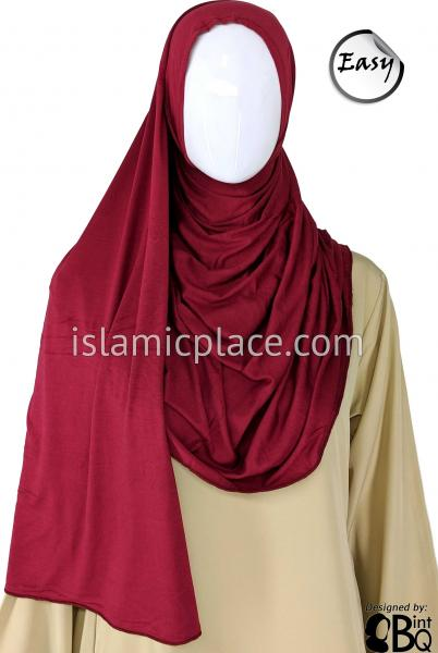 "Light Burgundy Plain - Easy Aisha Jersey Shayla Long Rectangle Hijab 30""x70"""